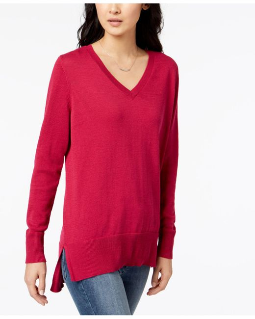 Maison Jules - Red V-neck Tunic Sweater, Created For Macy's - Lyst