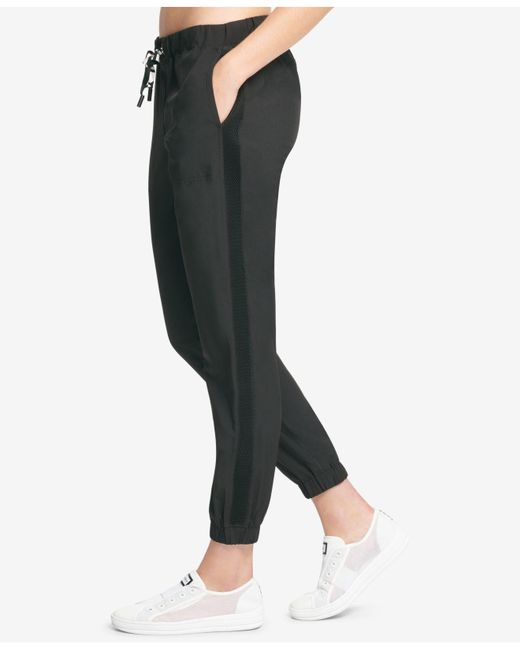 DKNY - Black Sport Logo Mesh-inset Jogger Pants, Created For Macy's - Lyst