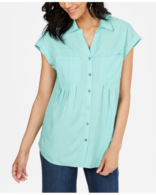 Style & Co. Blue Pleated Cuffed-sleeve Top, Created For Macy's