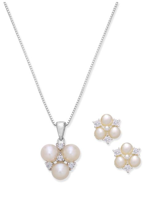 Macy's - Metallic Cultured Freshwater Pearl And Cubic Zirconia Pendant Necklace And Stud Earrings Set In Sterling Silver - Lyst