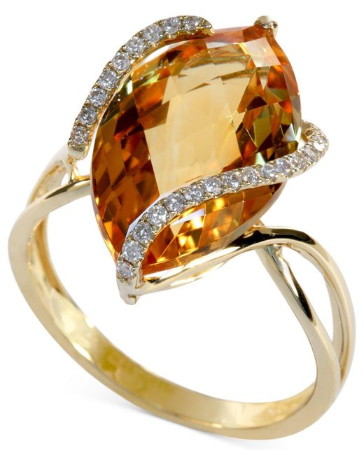 Effy Collection | Orange Marquise-cut Citrine (8-1/2 Ct. T.w.) And Diamond (1/8 Ct. T.w.) Wrap Ring In 14k Gold | Lyst