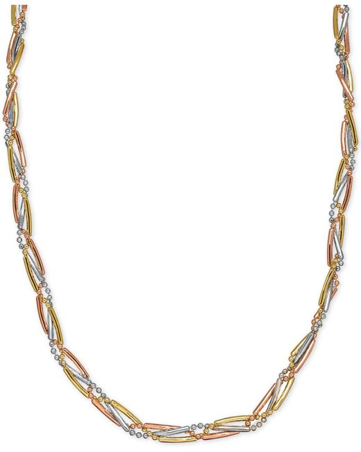 Macy's - Metallic Tri-color Bar And Bead Link Collar Necklace In 14k Yellow, White And Rose Gold - Lyst