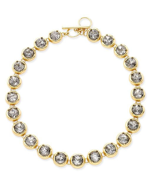 ABS By Allen Schwartz | Metallic Gold-tone Crystal Toggle Collar Necklace | Lyst