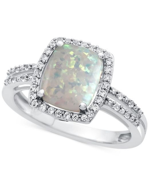 Macy's | Lab-created Opal (7/8 Ct. T.w.) And White Sapphire (1-1/3 Ct. T.w.) Ring In Sterling Silver | Lyst