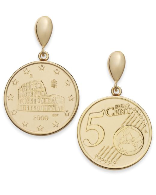 Macy's - Metallic Vermeil Engraved Euro Coin Drop Earrings - Lyst