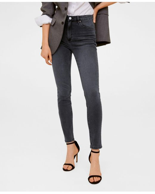Mango Gray High Waist Skinny Noa Jeans