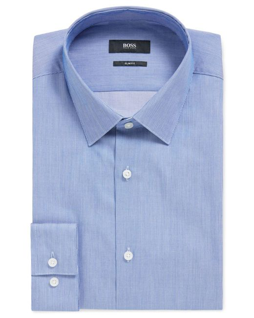 BOSS by Hugo Boss Blue Slim-fit Shirt In Striped Dobby Cotton for men