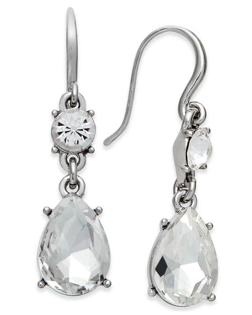 Charter Club | Metallic Silver-tone Crystal Drop Earrings | Lyst