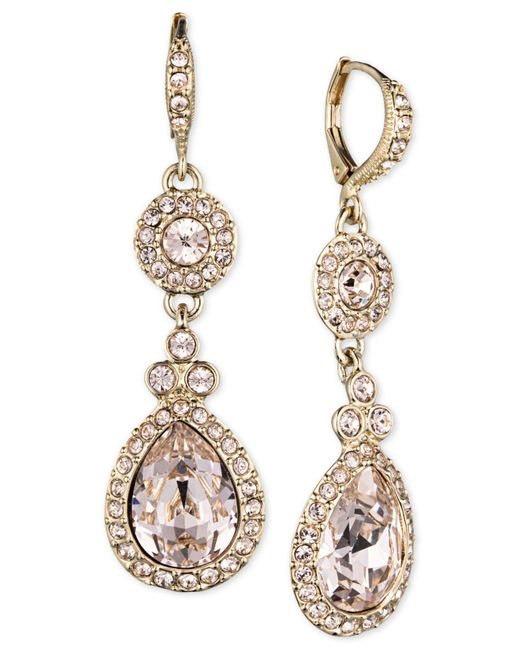 Givenchy - Metallic Gold-tone Crystal And Pavé Double Drop Earrings - Lyst