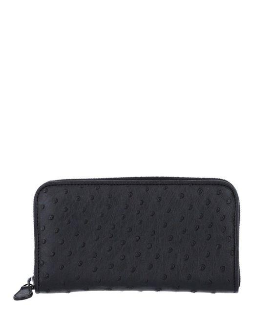 Bottega Veneta Black Intrecciato Leather Zipped Wallet