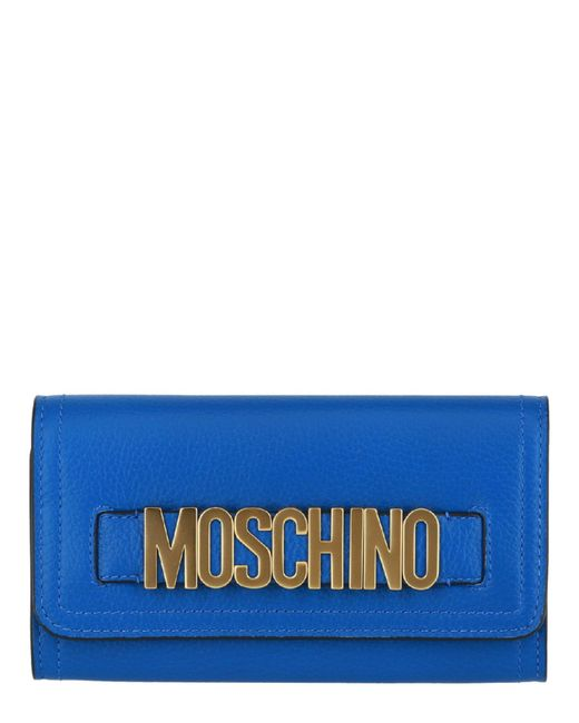Moschino Blue Logo Leather Wallet