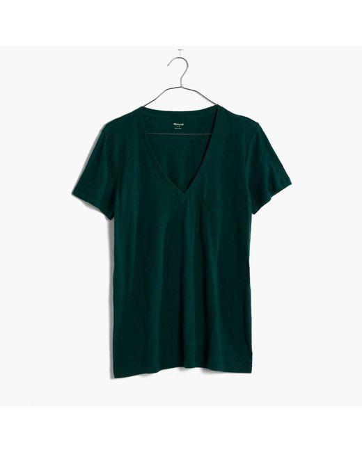 Madewell | Green Whisper Cotton V-neck Pocket Tee | Lyst