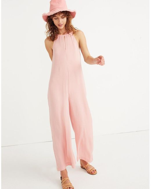 a1ff5c67643c Madewell Keyhole Wide-leg Jumpsuit In Pink Icing in Pink - Lyst