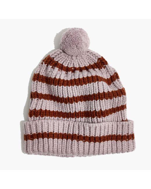 Madewell | Multicolor Stripe Pom-pom Beanie | Lyst