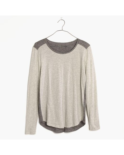 Madewell | Gray Whisper Cotton Long-sleeve Crewneck Tee In Colorblock | Lyst