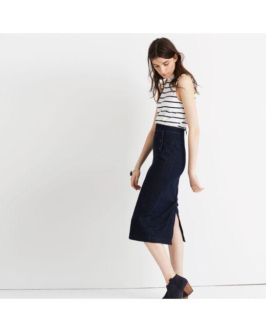 madewell denim sailor pencil skirt in multicolor lyst