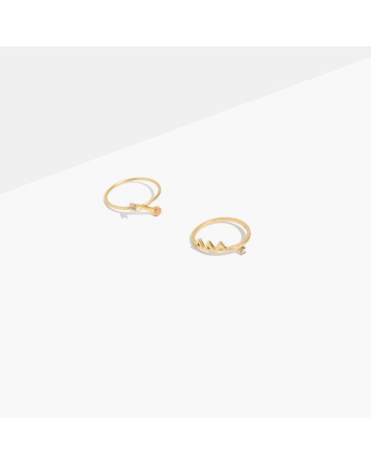 Madewell | Metallic Tiny Jewels Pink Jade Ring Set | Lyst