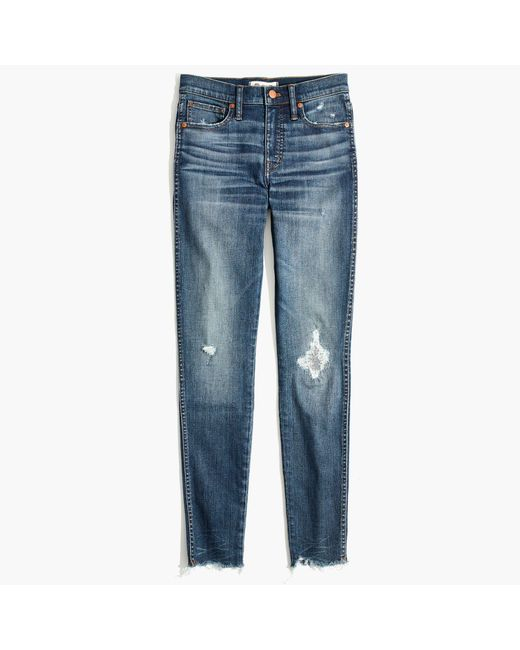 "Madewell | Blue 9"" High-rise Skinny Jeans In Allegra Wash: Rip And Repair Edition 