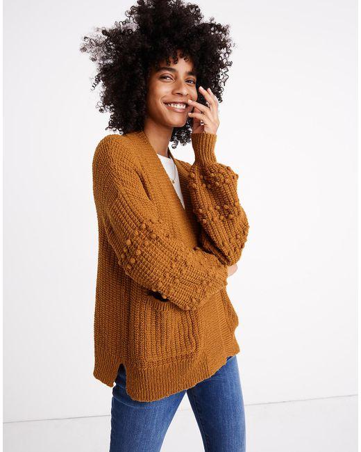 Madewell Brown Bobble Cardigan Sweater