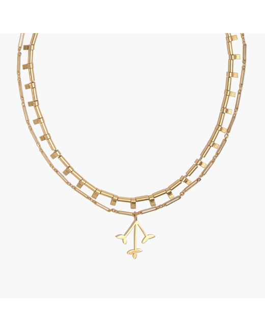 Madewell - Metallic Pressed Petals Layered Necklace - Lyst