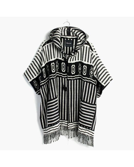 Madewell - Black Striped Blanket Poncho - Lyst