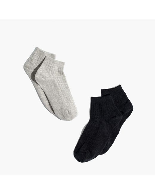 Madewell - Gray Two-pack Ribbed Heather Ankle Socks - Lyst
