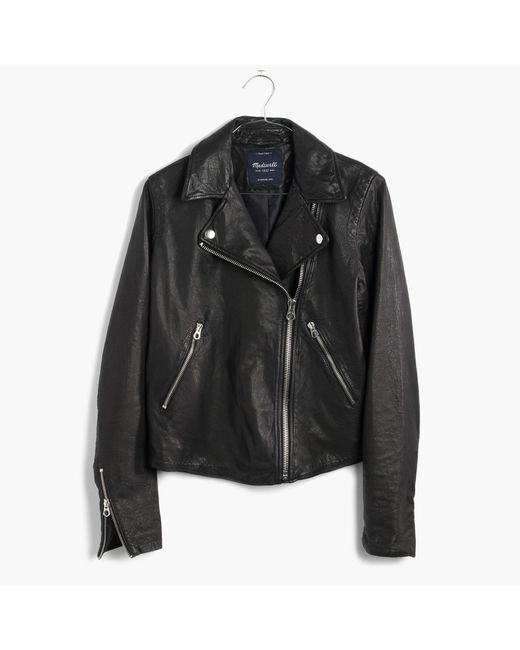 Madewell - Black Washed Leather Motorcycle Jacket - Lyst