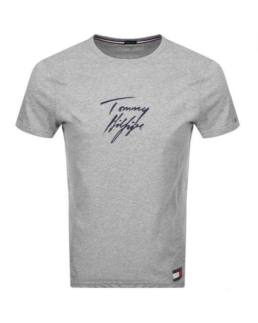 Tommy Hilfiger Gray Logo T Shirt for men