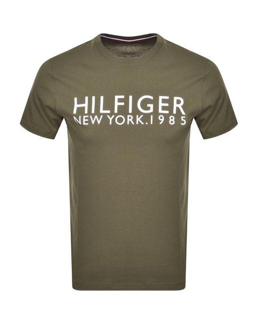 Tommy Hilfiger Green Logo T Shirt for men