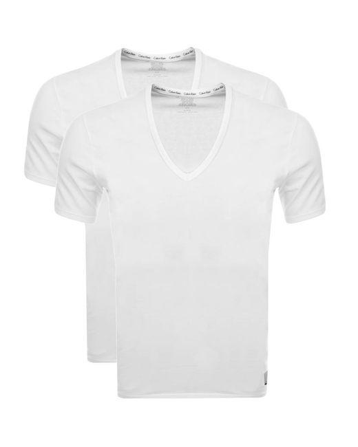 Calvin Klein - 2 Pack V Neck T Shirts White for Men - Lyst
