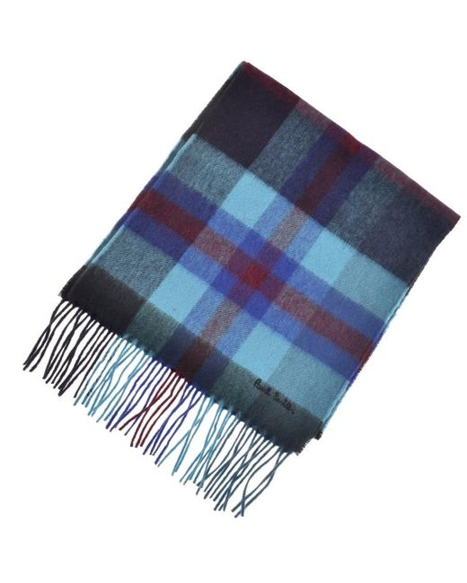 Paul Smith Ps By Tartan Knit Scarf Blue for men