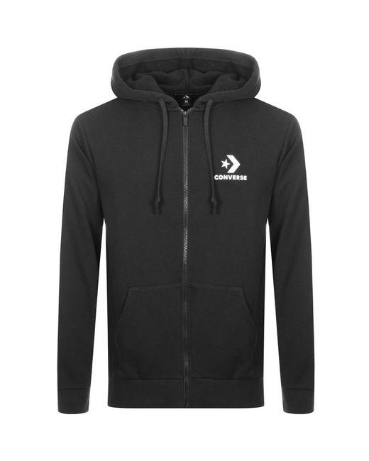 c4f42cf519bb Lyst - Converse All Star Full Zip Logo Hoodie Black in Black for Men ...