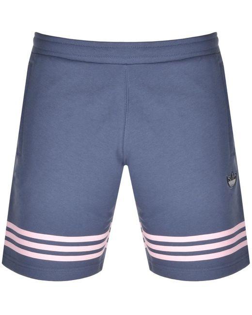 Adidas Originals Blue Outline Trefoil Shorts for men