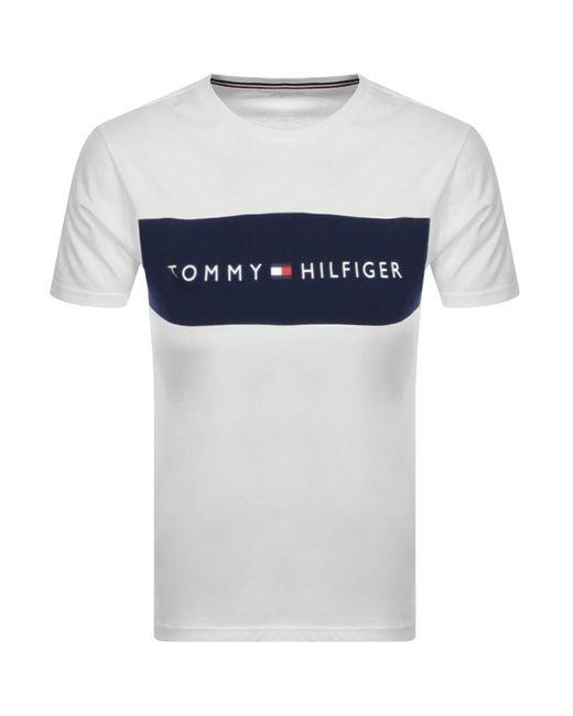 Tommy Hilfiger White Lounge Logo Flag T Shirt for men