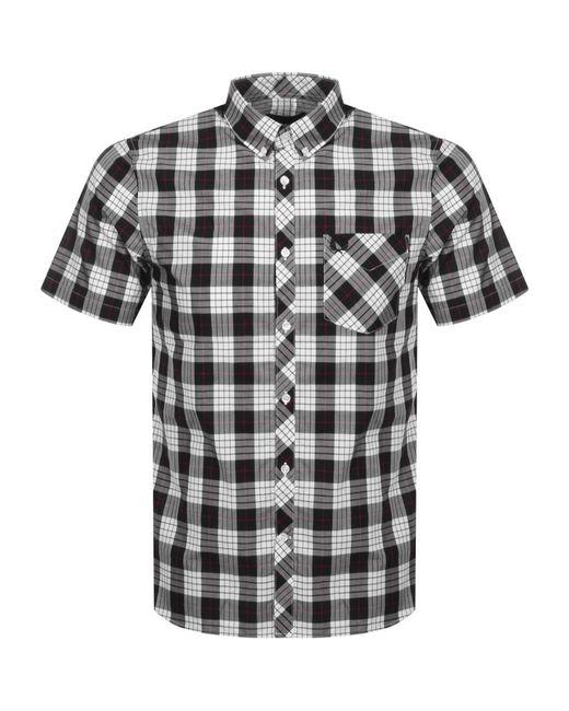 Fred Perry White Short Sleeved Tartan Shirt for men