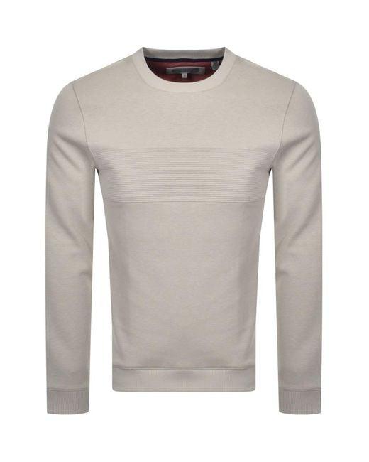 Ted Baker Natural Seekwal Crew Neck Sweatshirt for men