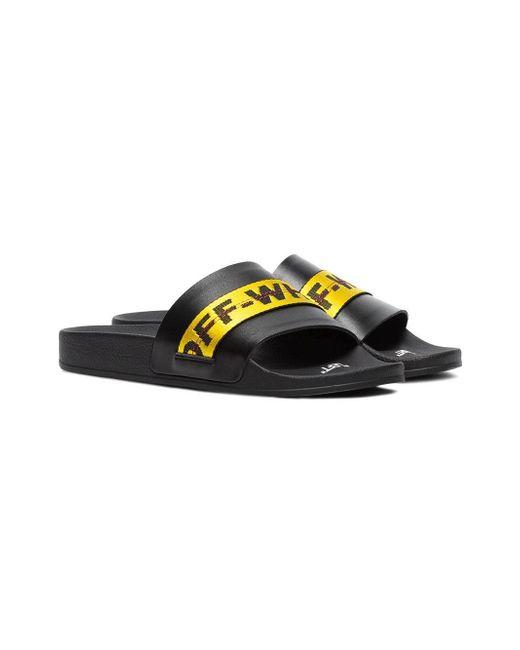 ff0e259f849d ... Off-White c o Virgil Abloh - Black Logo Webbing Slide Sandals for Men  ...