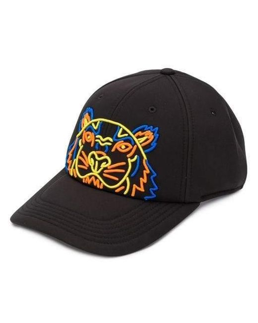 KENZO - Black Embroided Tiger Cap for Men - Lyst