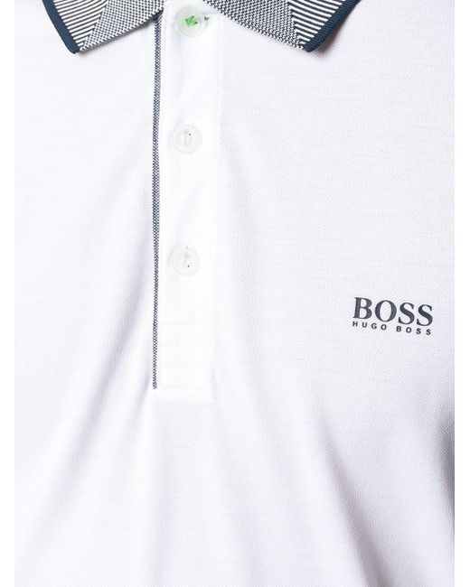 df1e81469 Lyst - Boss Logo Embroidered Polo Shirt in White for Men - Save ...