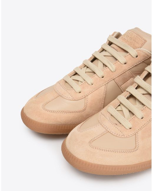 70eb80dd8e9 Women's Natural Calfskin And Suede Replica Sneakers