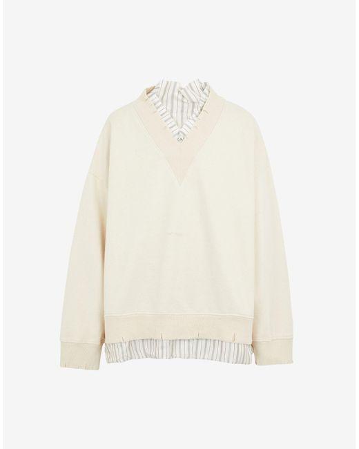 メンズ Maison Margiela デストロイド Vネック スウェットシャツ White