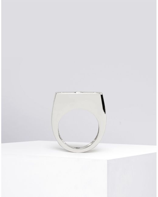 mm6 by maison martin margiela padlock ring in metallic lyst. Black Bedroom Furniture Sets. Home Design Ideas