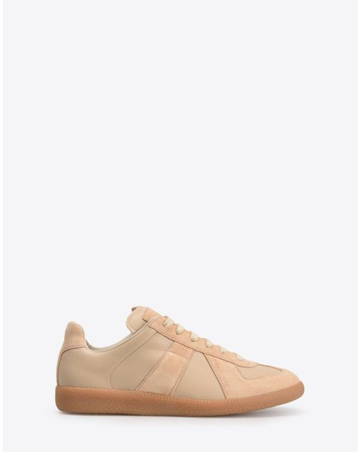 Maison Margiela - Natural Calfskin And Suede Replica Sneakers - Lyst