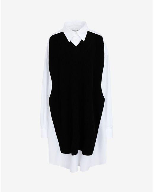 Maison Margiela Spliced ニット シャツドレス Black