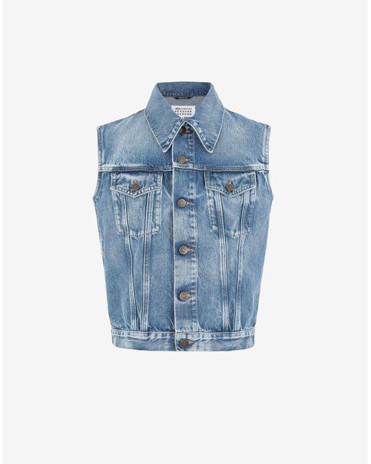 Maison Margiela スリーブレス リサイクル デニム ジャケット Blue