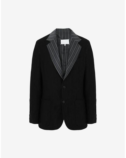 メンズ Maison Margiela ストライプ カラー リネン ブレザー Black