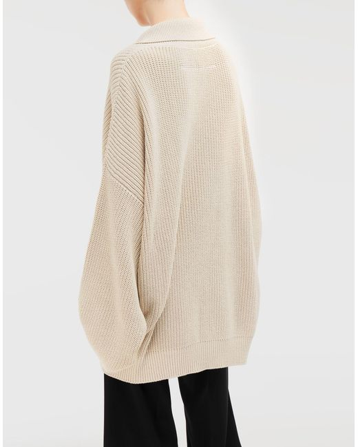 Cotton Lyst Ribbed By Martin Pullover Oversized Maison Mm6 Natural Margiela q0xaBZB