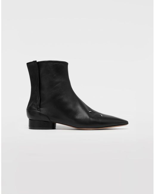Bottines en cuir à quatre surpiqûres Maison Margiela en coloris Black