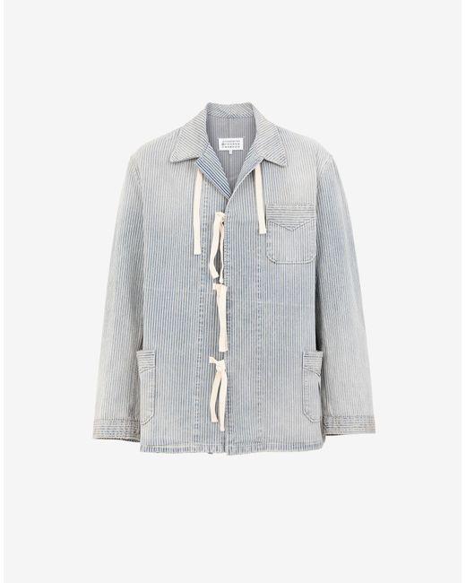 メンズ Maison Margiela ピンストライプ オーバーシャツ Blue
