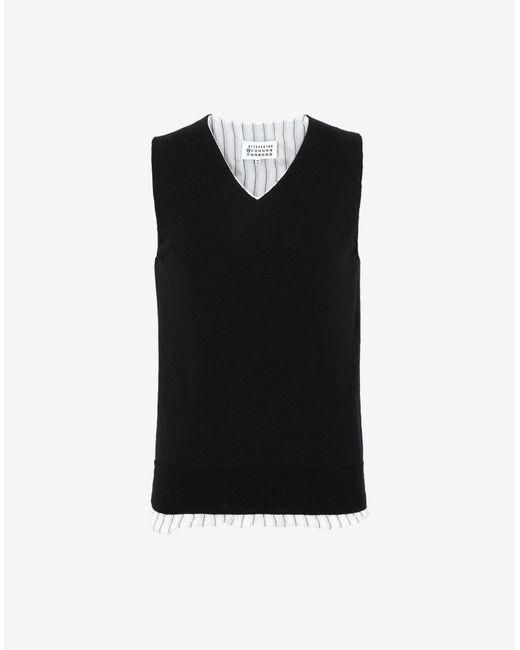 メンズ Maison Margiela ライニング スリーブレス セーター Black